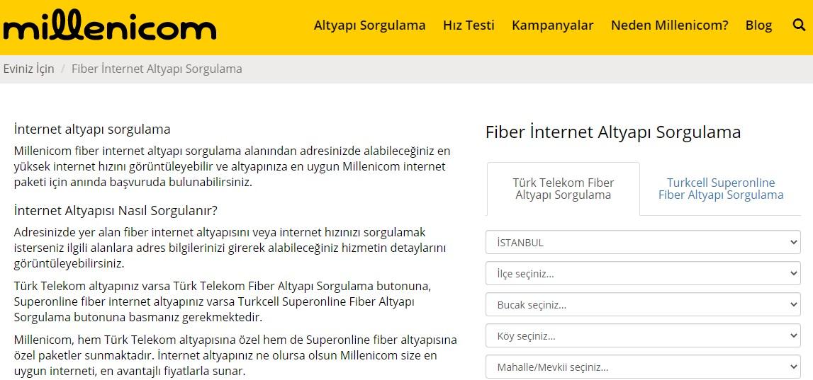 millenicom internet altyapı sorgulama